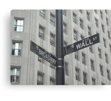 Corner of Broadway and Wall Canvas Print