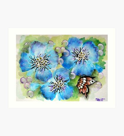 Blue Pansy and Butterfly Art Print