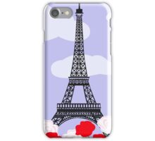 Eiffel tower with red and white roses iPhone Case/Skin