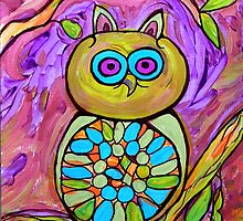 MR HOOTY Abstract Fantasy Owl,  by Suzeee by suzeee