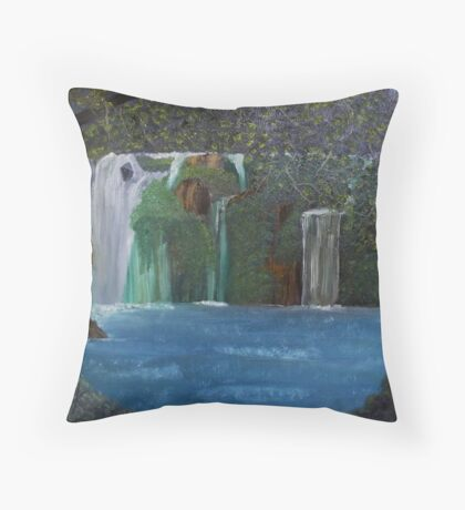 Rainfall at Local Waterfall Throw Pillow