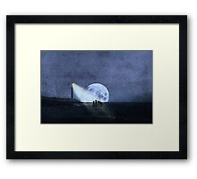 Across The Sea A Pale Moon Rises Framed Print