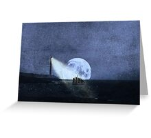 Across The Sea A Pale Moon Rises Greeting Card