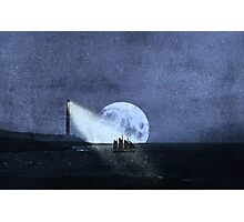 Across The Sea A Pale Moon Rises Photographic Print