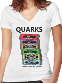 Quarks, can you collect all the flavors? Women's Fitted V-Neck T-Shirt