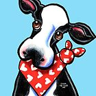 Cow n' Heart Scarf by offleashart