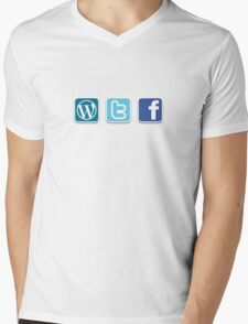 WTF social media icons T Shirt Mens V-Neck T-Shirt