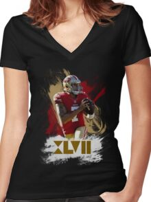 Colin Kapernick - Golden XVII Women's Fitted V-Neck T-Shirt