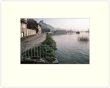 Seine at Les Andelays Castle Galliard above bridge 198402160046  by Fred Mitchell