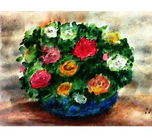 Bouquet of roses in blue bowl, watercolor Photographic Print