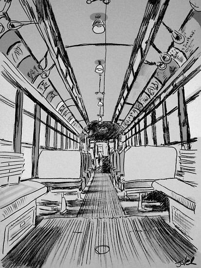 vintage tram interior study by Loui  Jover