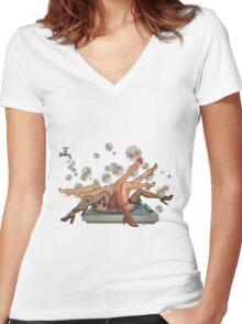Spun Women's Fitted V-Neck T-Shirt
