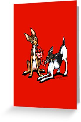 Rat Terrier Valentines Day Greeting by offleashart
