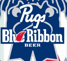 Pug Blue Ribbon Sticker