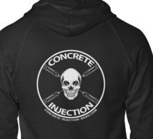concrete injection skull logo Zipped Hoodie