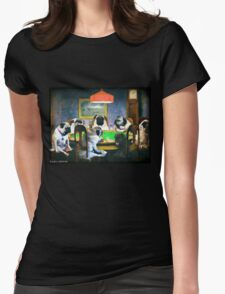 PUGS PLAYING POKER Womens Fitted T-Shirt