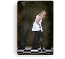 Aghast, she realised she had a ladder in her stocking Canvas Print