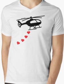 Army Helicopter Bombing Love Mens V-Neck T-Shirt