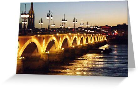Bordeaux bridge at night by graceloves