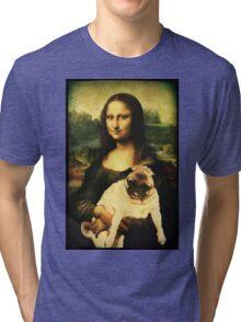 MONA LISA PUG Tri-blend T-Shirt
