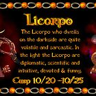 Valxart Licorpo for Libra Scorpio zodiac Cusp is approximately from dates October 16 to October 26 and is ruled by both Venus and Pluto with the elements of air and water.  by Valxart