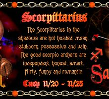 Scorpio Sagittarius zodiac Cusp is approximately from dates November 16 to November 26 and is ruled by both Pluto and Jupiter with the elements of water and fire. by Valxart