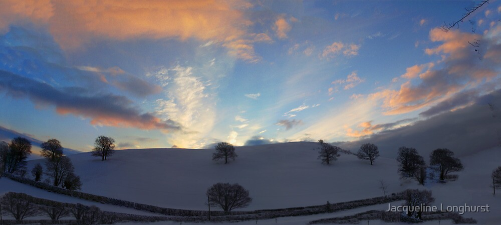 Beautiful Early Morning View of the Snow and Sky.  Hills of Llanfyllin, Powys. by Jacqueline Longhurst