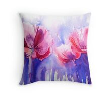 Pink Poppy Explosion Throw Pillow