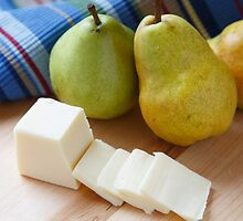 Sliced Cheese and Bartlett Pears by dbvirago