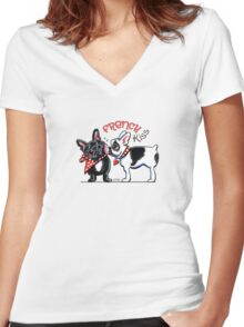 French Kiss {Type} Women's Fitted V-Neck T-Shirt