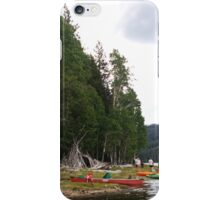 Trees, Lake, and Canoes iPhone Case/Skin