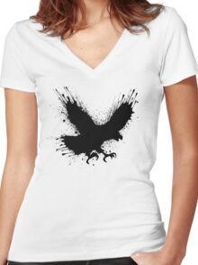Abstract splashes of color - Street art bird (eagle / raven) Women's Fitted V-Neck T-Shirt