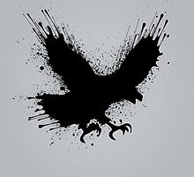 Abstract splashes of color - Street art bird (eagle / raven) by badbugs