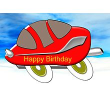Red Racing Car - Happy Birthday card Photographic Print