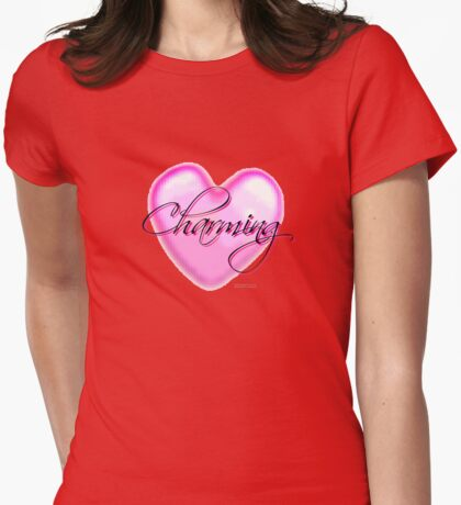 Charming. Digital Pixelated Mosaic Heart with Script Womens Fitted T-Shirt
