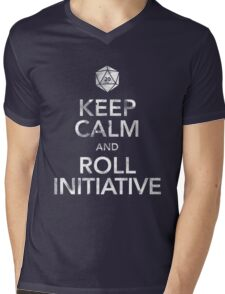 Keep Calm and Roll Initiative (White Text) Mens V-Neck T-Shirt