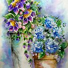 Purple Sunflowers Blue Hydrangeas by ApolloniaArt