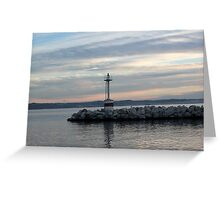 a beacon under a red, blue sky Greeting Card
