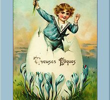 Easter Card-Sailor Boy in Egg by Yesteryears