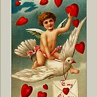 Valentine Card-Cupid on White Dove by Yesteryears