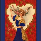 Valentine Card-Deco Woman with Hearts by Yesteryears