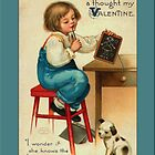 Valentine Card-Boy at Desk by Yesteryears
