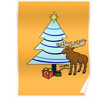 Happy Holiday Moose Poster