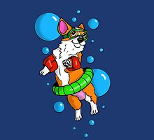 Corgi Swimmer  by SPufferART