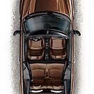 Mini Cooper Cabrio Print in brown by davidkyte