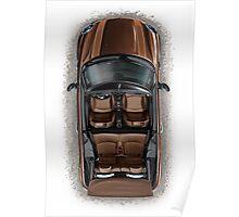 Mini Cooper Cabrio Print in brown Poster