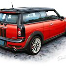 Mini Cooper Clubman Print in Red by davidkyte
