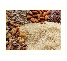 Nuts and Seeds... Brown Edible Plants And Nuts...top ten winner Art Print