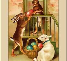 Easter Greetings-Bunnies and Lamb by Yesteryears