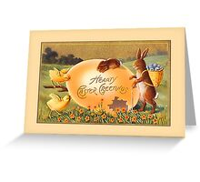 Easter Greetings-Bunnies, Chicks, Egg Greeting Card